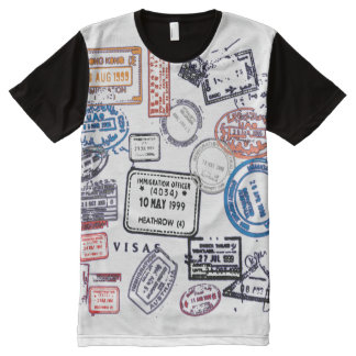 Traveling Man Visa Stamps All-Over Print T-Shirt