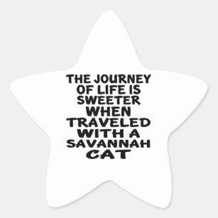 Travelled With Savannah Cat Star Sticker