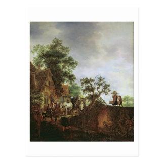 Travellers by an Inn (oil on canvas) Postcard