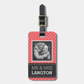 Travelling Couple Mr and Mrs Polka Dot Photo Luggage Tag