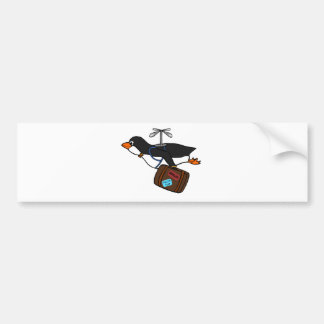 Travelling Flying Helicopter Penguin with Suitcase Bumper Stickers