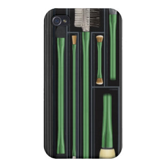 Travelling makeup brush set, design, green iPhone 4 cases