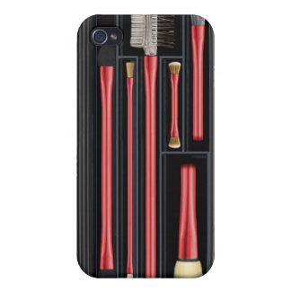 Travelling makeup brush set, design, red iPhone 4 cover