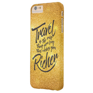 Travelling quote - gold glitter design barely there iPhone 6 plus case