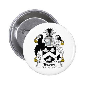 Travers Family Crest 6 Cm Round Badge