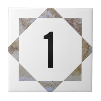 Travertine star number tile