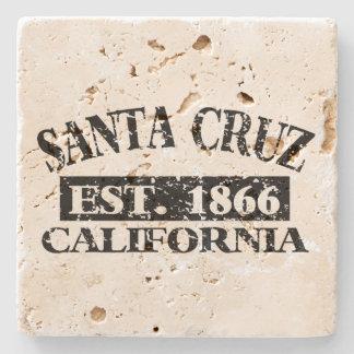 Travertine Stone Coaster with Santa Cruz imprint