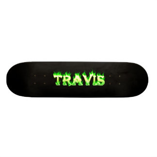 Travis skateboard green fire and flames design