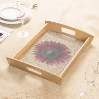 Tray - Serving - Burlap and Bordeaux Sunflower