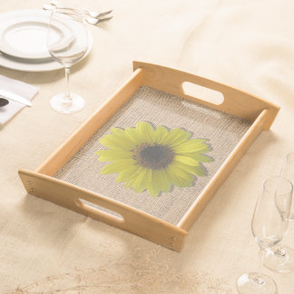 Tray - Serving - Burlap & Rain-Drenched Sunflower