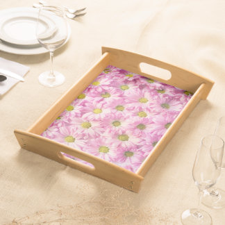 Tray - Serving - Pink Gerbera Daisies