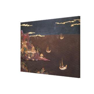 Tray with marine scene canvas print