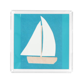 Tray with Sailboat Design