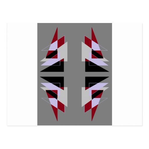 TRE 4 Triangles Abstract Grey Blue Red White Post Card