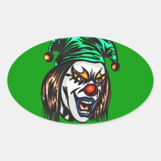 Treacherous Evil Clown Oval Sticker