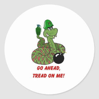 Tread on Me! Classic Round Sticker