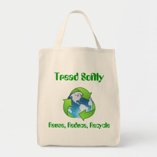 Tread Softly Recycle Shopping Tote Canvas Bag