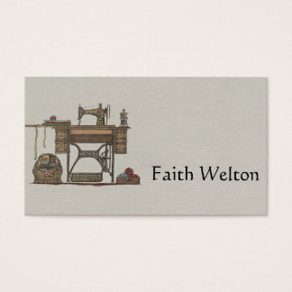 Treadle Sewing Machine & Kittens Business Card