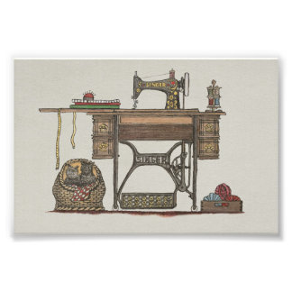 Treadle Sewing Machine & Kittens Photographic Print