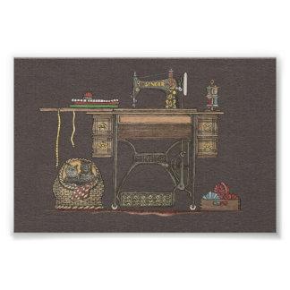 Treadle Sewing Machine & Kittens Photo