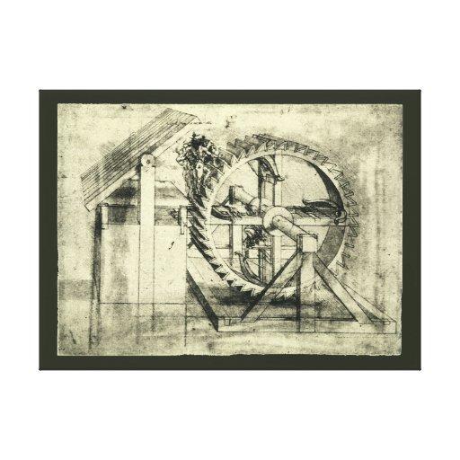 Treadmill Powered Crossbow by Leonardo da Vinci Gallery Wrap Canvas