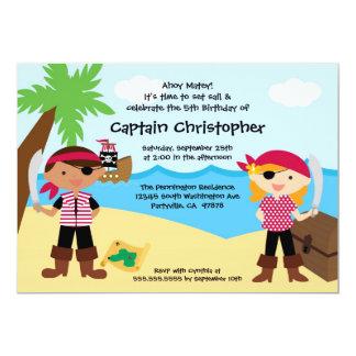 Treasure chest pirate birthday party invitation