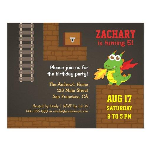 Treasure Hunt, Dragon, Video Game Birthday Party Invites