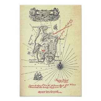 """Treasure Island Map"" Poster"