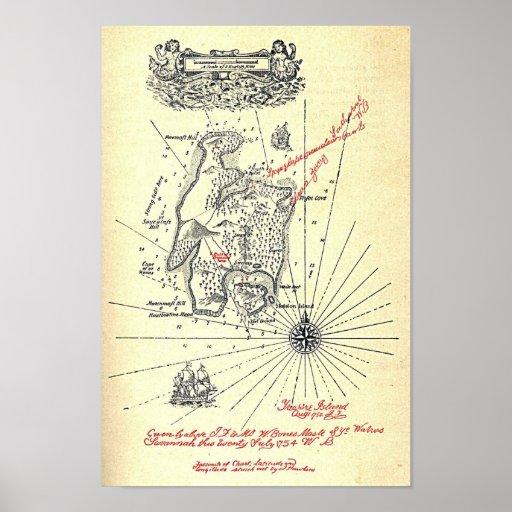 """Treasure Island Map"" Posters"