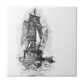 Treasure Island Pirate Ship Small Square Tile