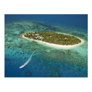 Treasure Island Resort and boat, Fiji Postcard
