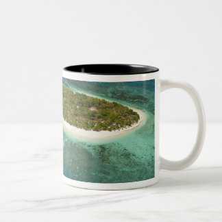 Treasure Island Resort and boat, Fiji Two-Tone Coffee Mug