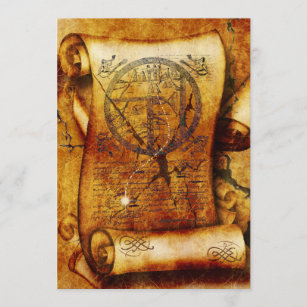 Treasure map ancient scroll birthday invitation