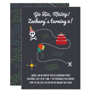 Treasure Map Birthday Invitation, Pirate Card
