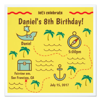 Treasure Map Birthday Invitations