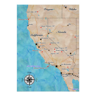 Treasure Map California Poster
