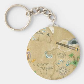 Treasure Map Key Chain