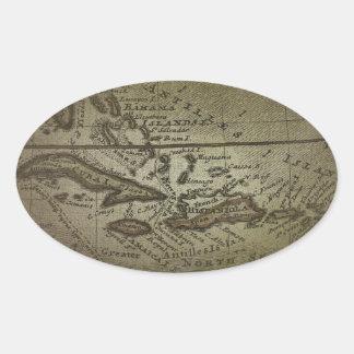 Treasure Map Oval Sticker
