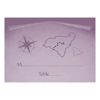 Treasure Map Place Card, Purple Business Card