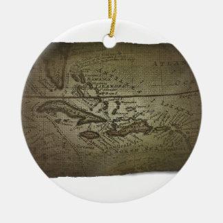 Treasure Map Round Ceramic Decoration