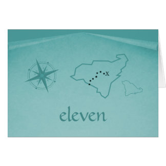 Treasure Map Table Number Card, Teal Card