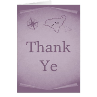 Treasure Map Thank You Card, Purple Card