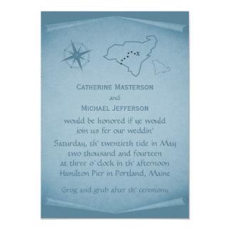 """Treasure Map Wedding Invite, Blue 5"""" X 7"""" Invitation Card"""