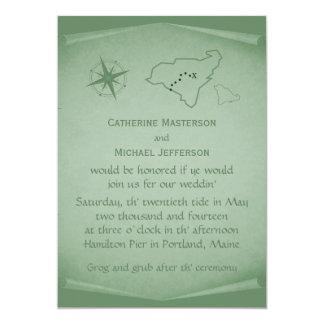 Treasure Map Wedding Invite, Green Card