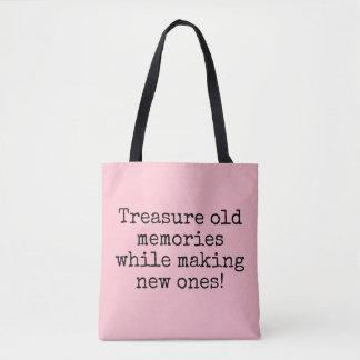 Treasure Memories, Pink Girly Font Quote New Tote Bag