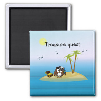 treasure quest owl square magnet