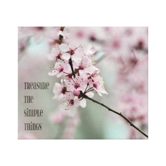 Treasure the Simple Things Floral Stretched Canvas Print