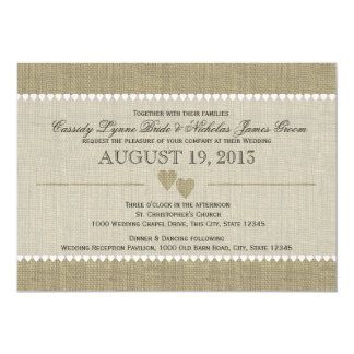 Treasured Hearts and Burlap Wedding 13 Cm X 18 Cm Invitation Card