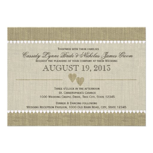 Treasured Hearts and Burlap Wedding Custom Invite