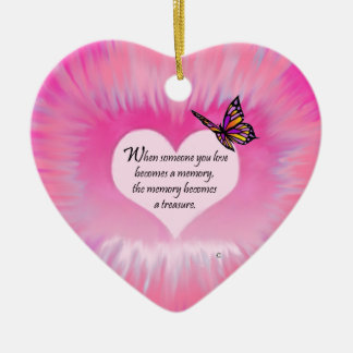 Treasured Memories Butterfly Poem Ceramic Heart Decoration